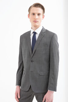 Elegant, slim-fit, pure wool suit, Grey, hi-res