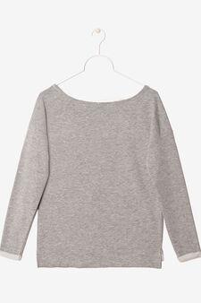 T-shirt maniche lunghe con stampa, Grigio melange, hi-res