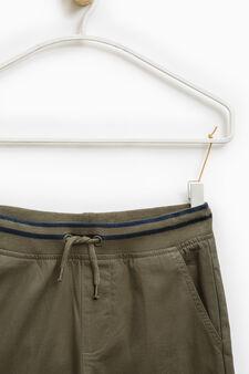 Pantaloni puro cotone con coulisse, Verde, hi-res