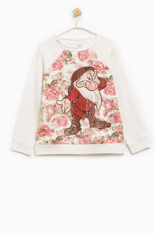 Seven Dwarves print cotton sweatshirt, Milky White, hi-res