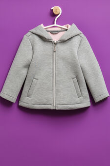 Solid colour jacket with hood, Grey/Pink, hi-res