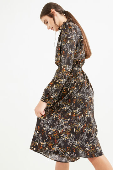 Floral pattern dress with lace tie, Black, hi-res