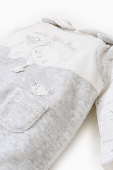 T-shirt and dungarees set with patch, Grey Marl, hi-res