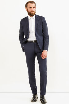Slim-fit, solid colour elegant suit in wool, Dark Blue, hi-res