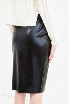 High-waisted midi skirt in lace, Black, hi-res