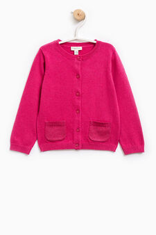 Knitted cardigan with two pockets, Fuchsia, hi-res