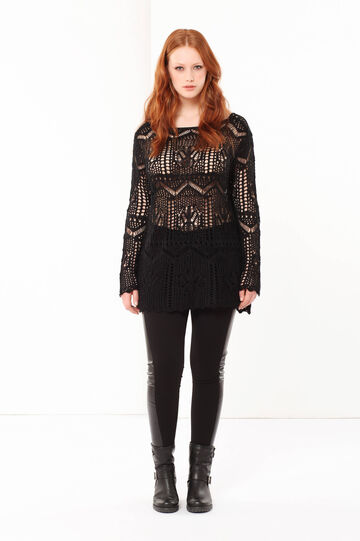 Curvyglam openwork sweater, Black, hi-res