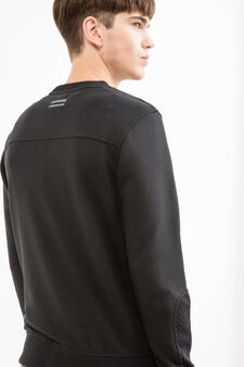 Solid colour round neck sweatshirt in cotton blend., Black, hi-res