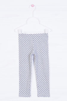 Stretch cotton polka dot print leggings, Grey, hi-res