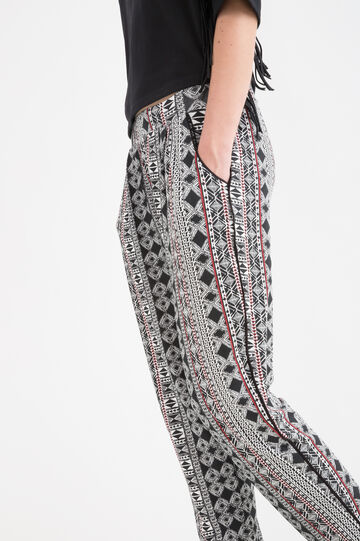 Stretch patterned trousers, Black/Red, hi-res