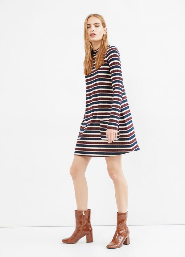 Stretch striped ribbed dress | OVS