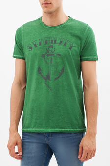 Printed T-shirt with contrasting stitching., Grass Green, hi-res