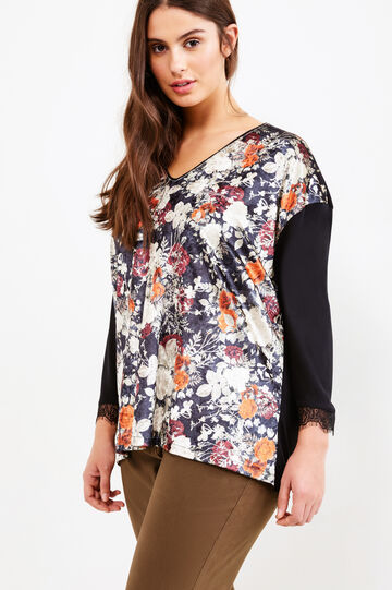 Curvy T-shirt with floral print and lace, Black, hi-res