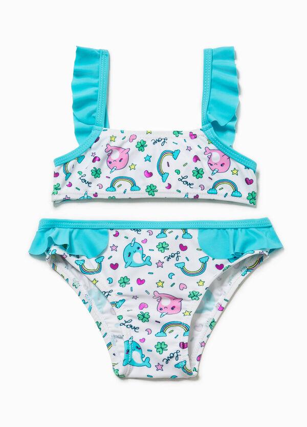 Bikini con top bandeau y braguitas con estampado y volantes | OVS