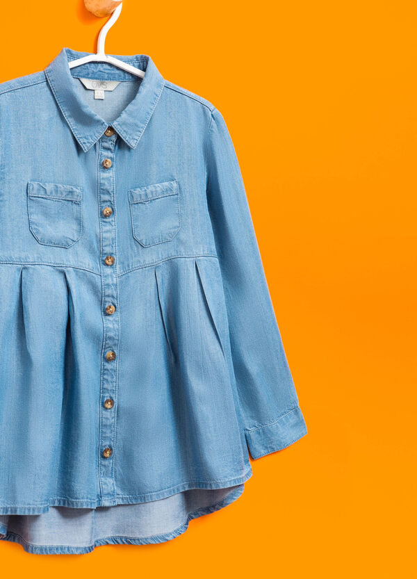 Denim shirt with pleated motif | OVS