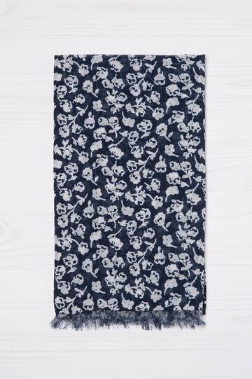 Sciarpa con stampa fiori, Blu navy, hi-res