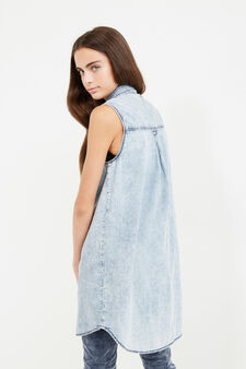 Long denim Teen shirt with mis-dyed effect, Denim, hi-res