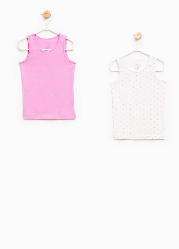 Set of two solid colour and hearts under vests | OVS