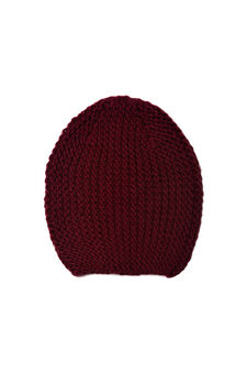 Knitted beanie cap, Red, hi-res
