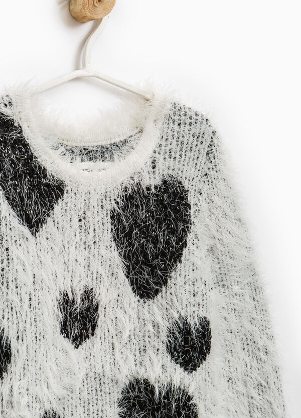 Shaggy pullover with hearts pattern | OVS