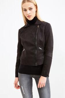 Suede look cropped jacket, Black, hi-res