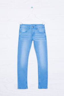 Jeans stretch effetto used, Azzurro turchese, hi-res