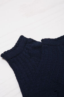 Solid colour cotton blend short socks., Navy Blue, hi-res
