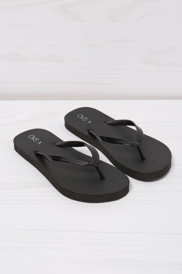 Solid colour thong sandals, Black, hi-res