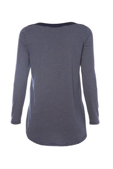 Smart Basic striped T-shirt in cotton blend, White/Blue, hi-res