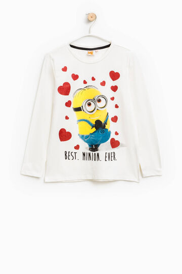 Printed stretch cotton Minions T-shirt with glitter, White, hi-res