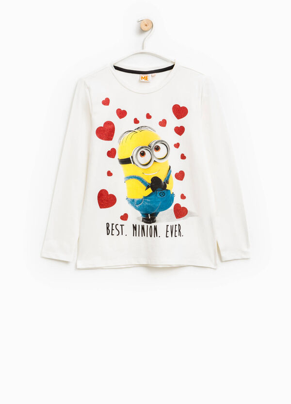 Printed stretch cotton Minions T-shirt with glitter | OVS