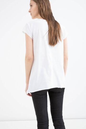 T-shirt with print and diamantés, White, hi-res