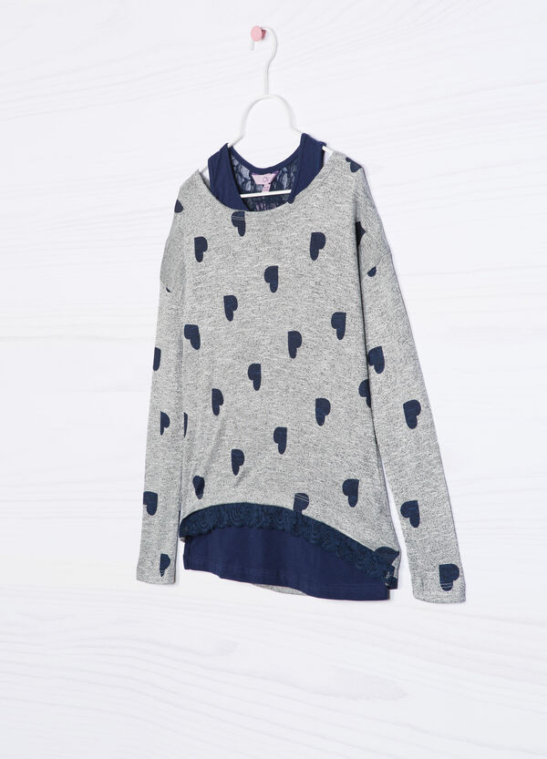 Viscose knitted pullover with layered effect   OVS