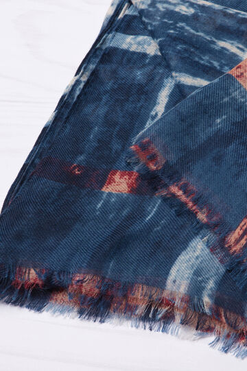 Patterned scarf in contrasting colour, Blue, hi-res