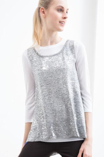 Faux layered stretch gym T-shirt, Grey/Silver, hi-res
