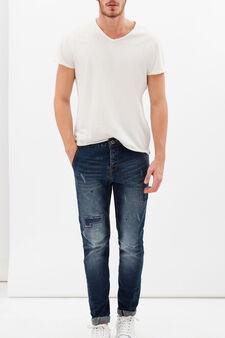 Marked-effect stretch jeans, Denim, hi-res
