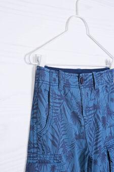 Cotton Bermuda shorts with print and pockets, Blue, hi-res