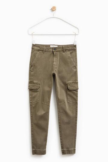 Cargo-cut chino trousers, Dark Green, hi-res