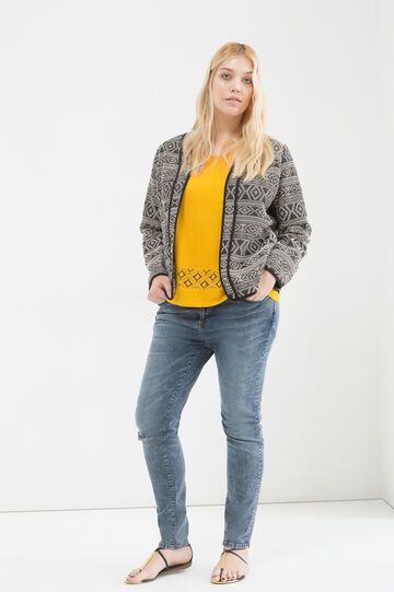 Cotton blend curvy jacket, Black/White, hi-res