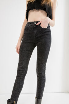 Jeans effetto maltinto con zip, Nero, hi-res