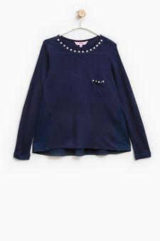 Pure viscose T-shirt with studs, Soft Blue, hi-res