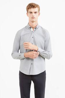 Solid colour slim-fit formal shirt, Grey, hi-res