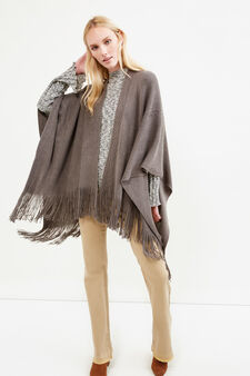 Knitted poncho with solid colour fringing, Grey, hi-res