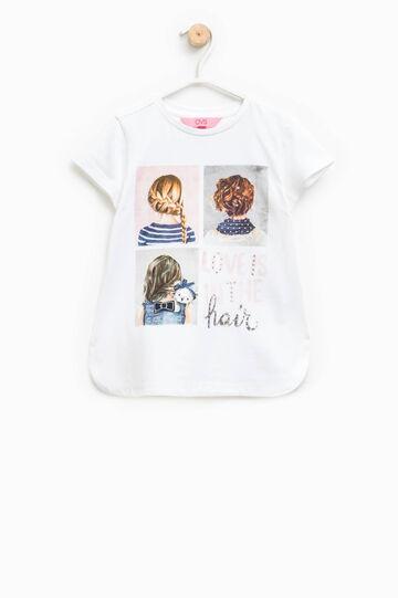 T-shirt stampata con fondo stondato, Bianco ottico, hi-res