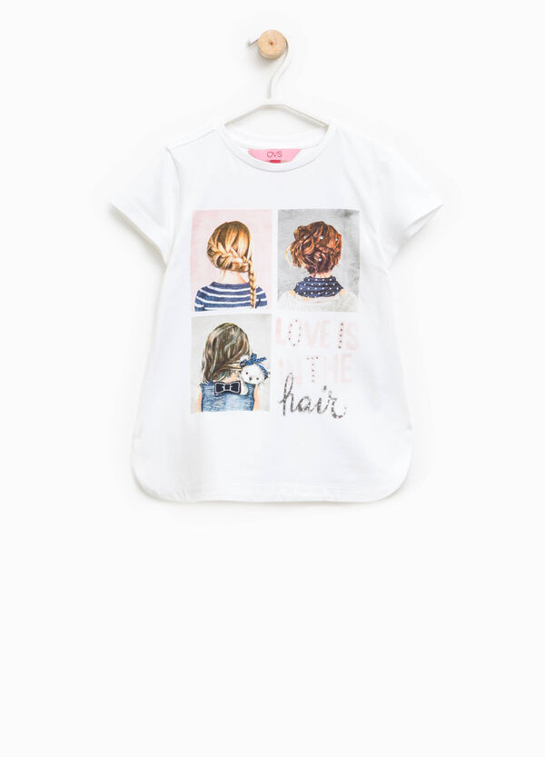 Printed T-shirt with rounded hem | OVS