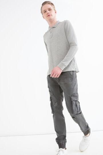 Stretch cotton cargo pants, Black, hi-res