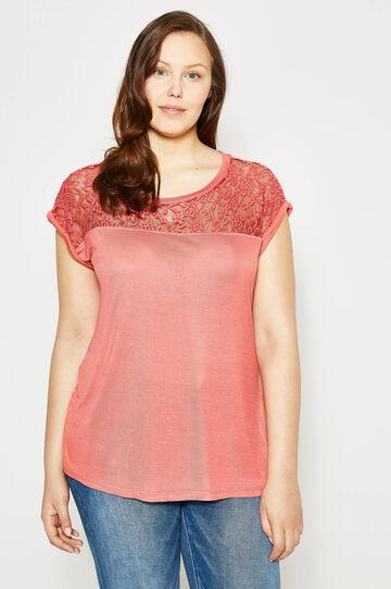 T-shirt in viscosa con pizzo Curvy, Arancione papaya, hi-res