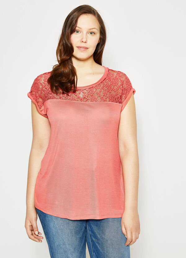 Curvy T-shirt in viscose with lace | OVS