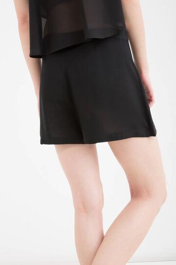 Shorts pura viscosa tinta unita, Nero, hi-res