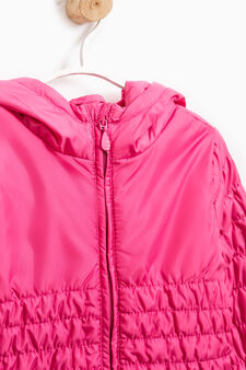Down jacket with elasticated waist and sleeves, Fuchsia, hi-res